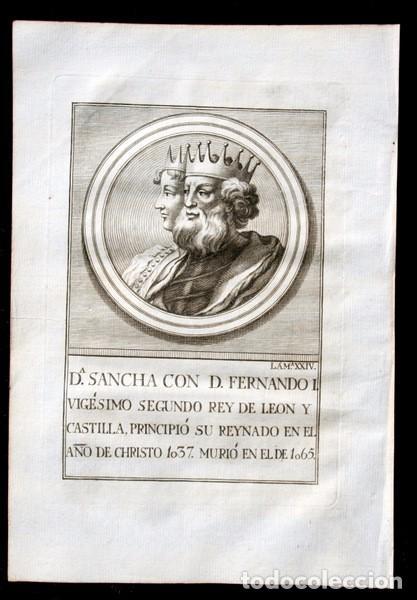 Arte: 1788 GRABADO - Dª SANCHA - FERNANDO I - REY DE LEON Y CASTILLA - 200x135mm - Foto 3 - 91803400