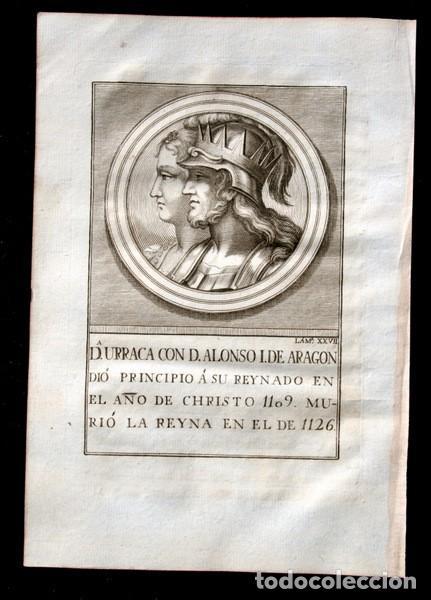 1788 GRABADO - Dª URRACA - ALONSO I DE ARAGON - 200X135MM (Arte - Grabados - Antiguos hasta el siglo XVIII)