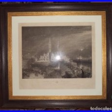 Arte: GRAN CUADRO GRABADO DE 1842 Sª MARK´S PLACE VENICE MOONLIGHT 90/82 CM. PINTADA POR TUNNER GRABADA P. Lote 91870780