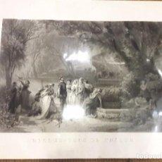 Arte: ANTIGUO GRABADO DE GRAN FORMATO RENDEZ-VOUS DE CHASSE PINTOR H. BARON GRABADOR PAUL GIRADE 1874. Lote 91968070
