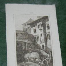 Arte: GRABADO MOSTRANDO EL CASTILLO DE VUFFLENS EN SUIZA. Lote 92052735