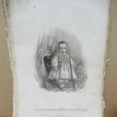 Arte: ALFONSO XII ANTIGUO GRABADO AÑO 1860 18 X 26 CM. Lote 151365153