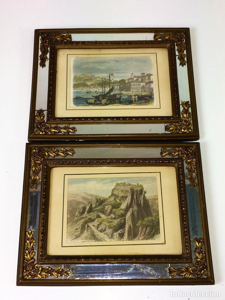 pareja de grabados coloreados. marcos con espej - Comprar Grabados ...