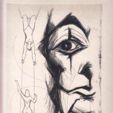 Arte: ALBERT PLAZA TRAPEZISTES I CLOWN AIGUAFORT PRUEBA DE ESTADO FIRMADA A LÁPIZ EDICIONS LA ROSA VERA. Lote 93084790