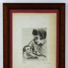 Arte: SIMO BUSOM GRAU (1927) GRABADO PRUEBA DE ARTISTA MATERNIDAD FIRMADO Y FECHADO 1973. Lote 93088180