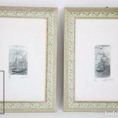 Arte: PAREJA DE GRABADOS ENMARCADOS DE VENECIA, ITALIA - NUMERADOS Y FIRMADOS - 40/50 Y 44/45. Lote 93325105