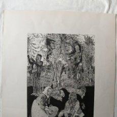 Arte: GRABADO AL LINÓLEO DE FRANCISCO CUADRADO LAGARES (SEVILLA, 1939). ESCENA DE RECOGIDA DE ACEITUNA. Lote 96057847