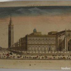 Arte: VISTA DE LA ANTIGUA CASA DE CAMBIO DE SEVILLA Y LA GIRALDA ( SEVILLA, ESPAÑA ), 1770. DAUMONT. Lote 93627655