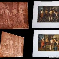 Arte: PLANCHA DE GRABADO + DOS ESTAMPACIONES PRUEBAS DE COLOR DE LA FRAGUA DE VULCANO. Lote 93778820