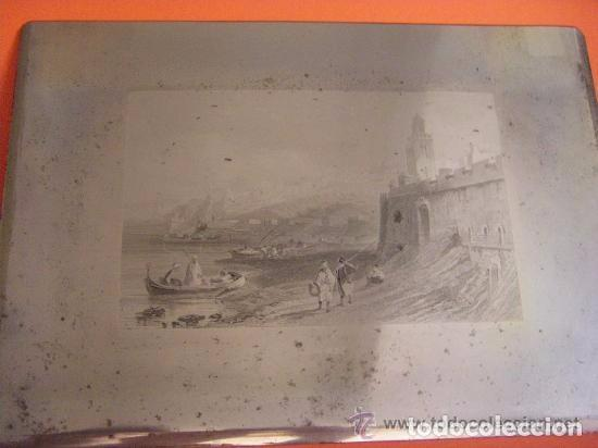 PLANCHA GRABADO ACERO DE LA MEDINA DE TANGER, MARRUECOS, DE LOS HERMANOS ROUARGUE MITAD SIGLO XIX (Arte - Grabados - Modernos siglo XIX)