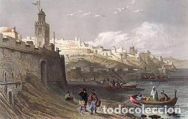 Arte: Plancha grabado acero de la medina de Tanger, Marruecos, de los hermanos Rouargue mitad siglo XIX - Foto 2 - 93979590