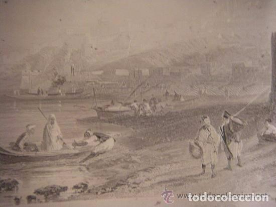 Arte: Plancha grabado acero de la medina de Tanger, Marruecos, de los hermanos Rouargue mitad siglo XIX - Foto 3 - 93979590
