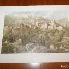 Arte: TARJETA DÍPTICO CON GRABADO DE DAVID ROBERTS. LA ALHAMBRA DESDE EL ALBAYCIN. SERIE A Nº 4.. Lote 93998735