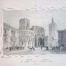 Arte: LAMINA GRABADO VISTA DE LA CATEDRAL Y LA TORRE DEL MIGUELETE. VALENCIA. Lote 94010380