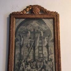 Arte: ANTIGUO GRABADO EL DESCENSO DE JESUS CON MARCO ANTIGUO EN PAN DE ORO TALLADO. Lote 94571744
