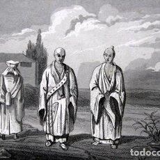 Arte: 1863 - GRABADO - BONZOS DE DIVERSAS SECTAS - JAPON - 181X127MM. Lote 95071963