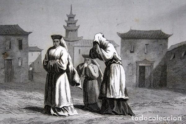 1863 - GRABADO - VESTIDOS DE LUTO - JAPON 180X138MM (Arte - Grabados - Modernos siglo XIX)