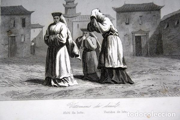 Arte: 1863 - GRABADO - VESTIDOS DE LUTO - JAPON 180x138mm - Foto 2 - 95398875