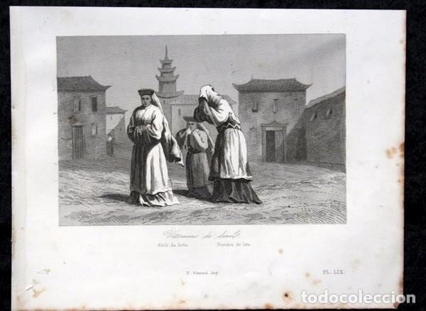 Arte: 1863 - GRABADO - VESTIDOS DE LUTO - JAPON 180x138mm - Foto 3 - 95398875