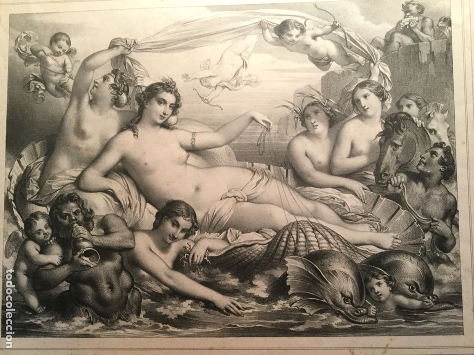 TRIUNFO DE GALATEA. LE TRIOMPHE DE GALATHÉE. LITOGRAFÍA XIX. LEMERCIER. PARÍS. FRANCIA (Arte - Grabados - Modernos siglo XIX)