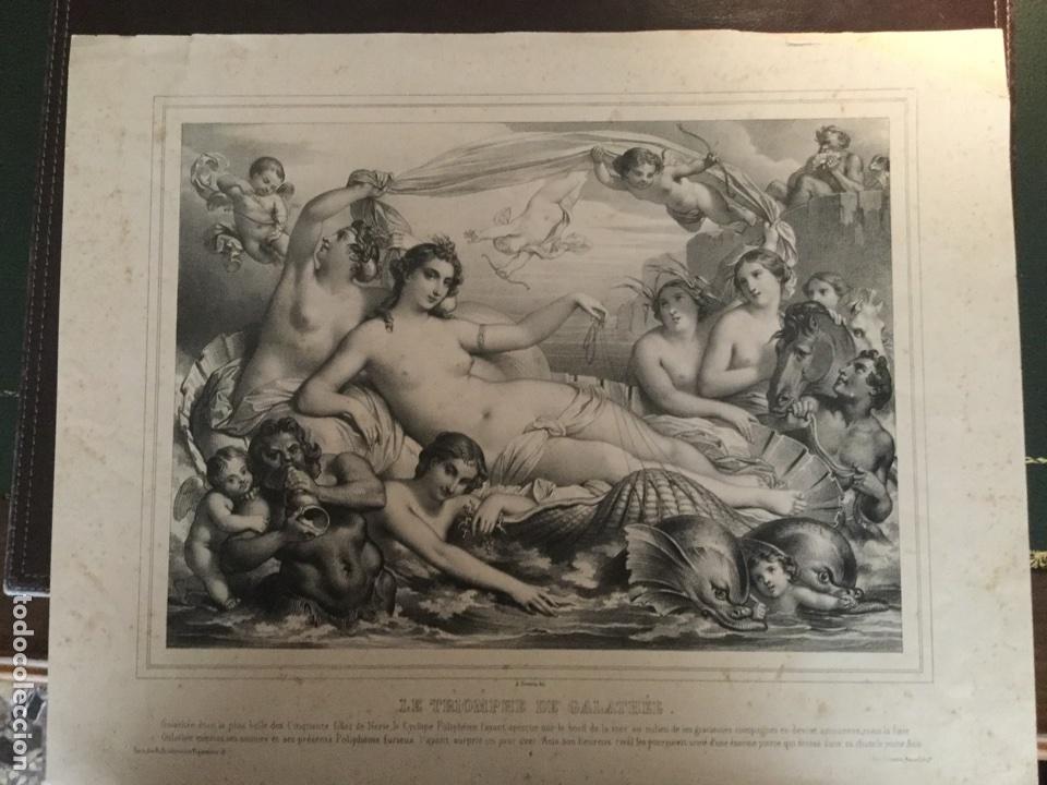 Arte: Triunfo de Galatea. le triomphe de Galathée. Litografía XIX. Lemercier. París. Francia - Foto 2 - 153364744