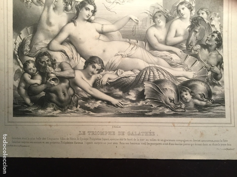 Arte: Triunfo de Galatea. le triomphe de Galathée. Litografía XIX. Lemercier. París. Francia - Foto 3 - 153364744