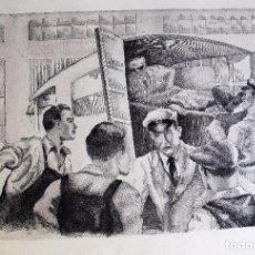 Arte: GRABADO DE ALFONSO SANCHEZ TODA , ACCIDENTE. FIRMADO EN PLANCHA. Lote 95961115