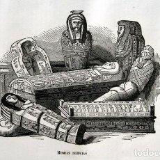 Arte: 1855 - GRABADO - MOMIAS EGIPCIAS - 244X149MM. Lote 96265499