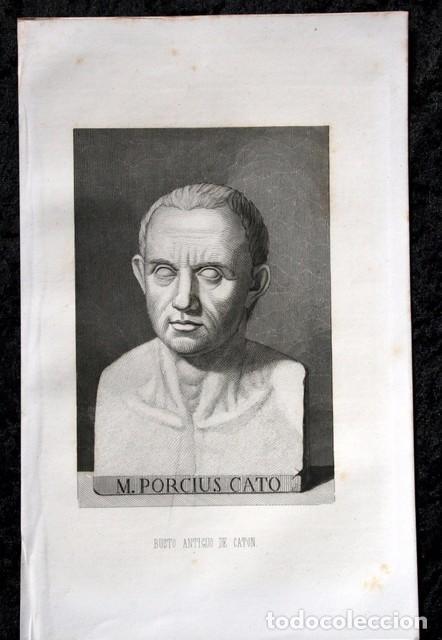 Arte: 1855 - GRABADO - BUSTO ANTIGUO DE CATON - 242x150mm - Foto 3 - 96266219