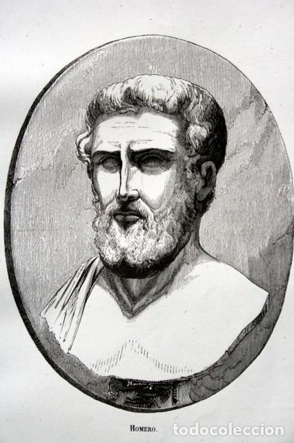 1855 - GRABADO - HOMERO - 242X153MM (Arte - Grabados - Modernos siglo XIX)