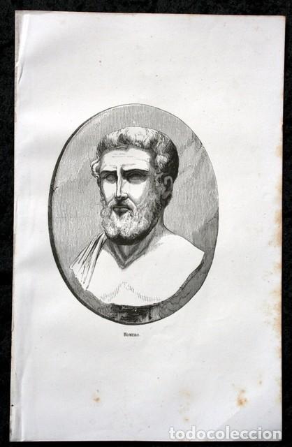 Arte: 1855 - GRABADO - HOMERO - 242x153mm - Foto 2 - 96293779