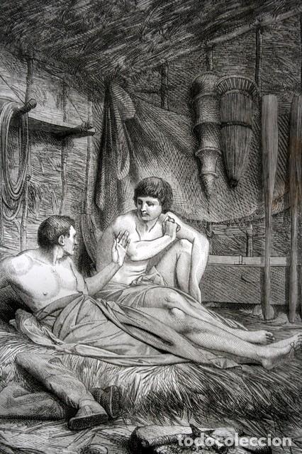 1855 - GRABADO - IDILO DE TEOCRITO - DOS PESCADORES - 242X154MM (Arte - Grabados - Modernos siglo XIX)