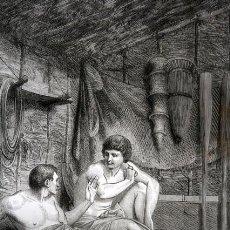 Arte: 1855 - GRABADO - IDILO DE TEOCRITO - DOS PESCADORES - 242X154MM. Lote 96295731