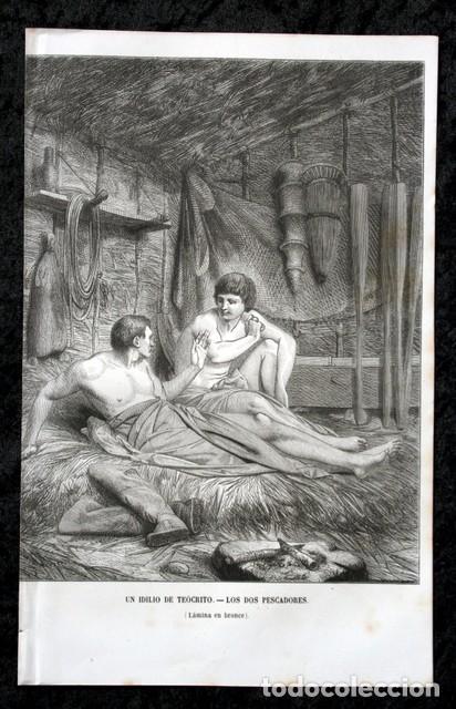 Arte: 1855 - GRABADO - IDILO DE TEOCRITO - DOS PESCADORES - 242x154mm - Foto 2 - 96295731