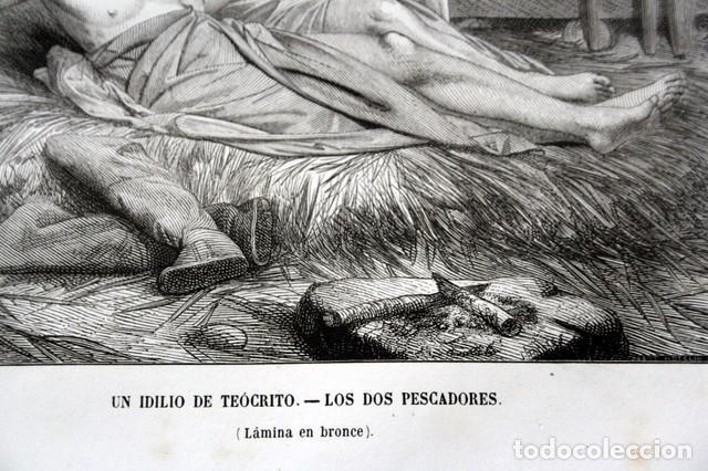 Arte: 1855 - GRABADO - IDILO DE TEOCRITO - DOS PESCADORES - 242x154mm - Foto 3 - 96295731