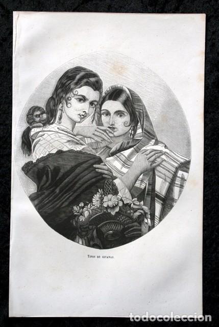 1855 - GRABADO - TIPOS DE GITANAS - 242X153MM (Arte - Grabados - Modernos siglo XIX)
