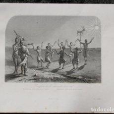 Arte: 1863 - GRABADO - SACRIFICIO DE LA PIEL DE UN CIERVO - 180X148MM. Lote 96364175