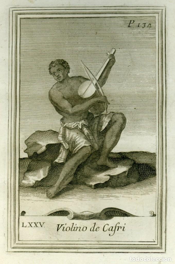 AGUAFUERTE ORIGINAL 1722. GABINETE ARMÓNICO DE GIORGIO PLACHIO, usado segunda mano