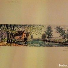 Arte: GRABADO AL AGUAFUERTE COLOREADO, L'EGLISE, FIRMA ILEGIBLE, LEER MEDIDAS. Lote 97122671