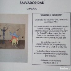 Arte: SALVADOR DALI.MAESTRO Y ESCUDERO. Lote 97141827