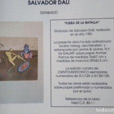 Arte: SALVADOR DALI.FUERA DE LA BATALLA. Lote 97142111