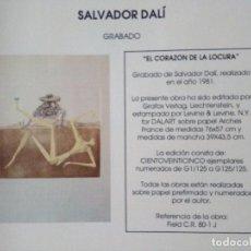 Arte: SALVADOR DALI. EL CORAZÓN DE LA LOCURA. Lote 97143211