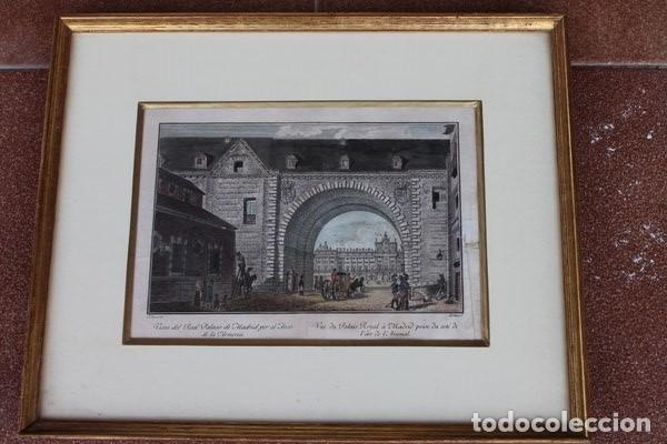 GRABADO ANTIGUO DE MADRID. VISTA DEL REAL PALACIO DE MADRID POR EL ARCO DE LA ARMERÍA. (Arte - Grabados - Antiguos hasta el siglo XVIII)