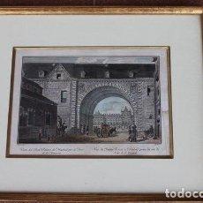 Arte: GRABADO ANTIGUO DE MADRID. VISTA DEL REAL PALACIO DE MADRID POR EL ARCO DE LA ARMERÍA. . Lote 97250347