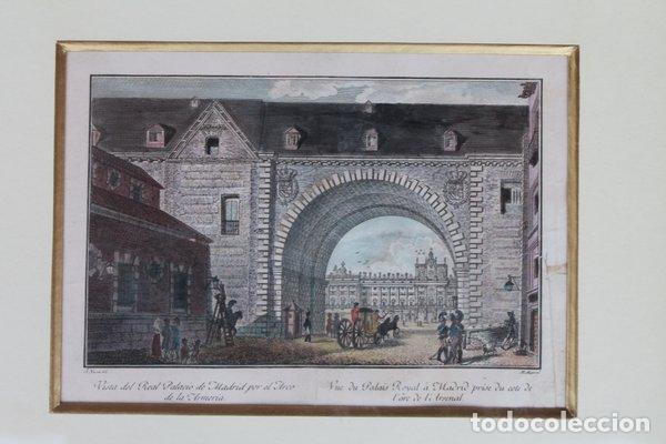 Arte: Grabado antiguo de Madrid. Vista del Real palacio de Madrid por el Arco de la Armería. - Foto 2 - 97250347