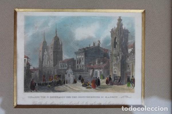 Arte: Grabado antiguo de Madrid. Calle de San Bernardo de la Iglesia de los Jesuitas. - Foto 2 - 97250563