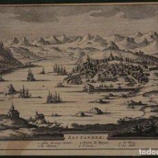 Arte: VISTA DE LA ANTIGUA CIUDAD DE SANTANDER (CANTABRIA, ESPAÑA), 1707. PIETER VAN DER AA. Lote 171210147