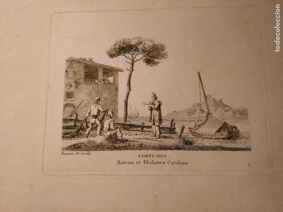 JEAN JERÔME BAUGEAN. GRABADO ORIGINAL BARCO. COSTUMES BATEAUX ET PÊCHEURS CATALANS. 1817-1826. (Arte - Grabados - Modernos siglo XIX)
