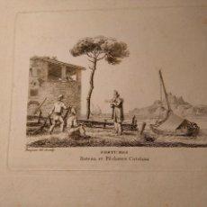 Arte: JEAN JERÔME BAUGEAN. GRABADO ORIGINAL BARCO. COSTUMES BATEAUX ET PÊCHEURS CATALANS. 1817-1826.. Lote 97569995