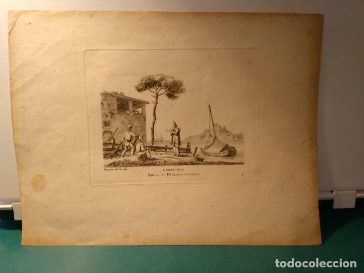 Arte: Jean Jerôme Baugean. Grabado original Barco. Costumes Bateaux et Pêcheurs Catalans. 1817-1826. - Foto 2 - 97569995